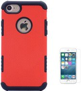 Teleplus iPhone 5s Armour Hybrid Double Layer Flip Leather Case Red + Glass Screen Protector hoesje