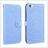 Let op type!! Voor iPhone 6 ingedrukt afdrukken patroon horizontale Flip PU lederen draagtas  met houder & kaartsleuven & portemonnee & & Lanyard (blauw)