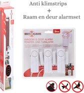 Safe Alarm Anti klimstrips 5meter - Deur en raam alarm 3st -  Inbraak alarm -110DB