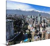 Uitzicht over de stad Santiago in Chili Canvas 180x120 cm - Foto print op Canvas schilderij (Wanddecoratie woonkamer / slaapkamer) XXL / Groot formaat!