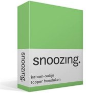 Snoozing - Katoen-satijn - Topper - Hoeslaken - Lits-jumeaux - 200x200 cm - Lime