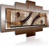 Schilderij - Veren in bruin kader , 5 luik