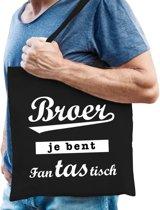 Cadeau tas zwart katoen met de tekst Broer je bent fantastisch - kadotasje voor een broer