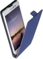 LELYCASE Lederen Blauw Flip Case Cover Hoesje Huawei Ascend P7