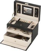 Treasury Classic Sieradendoos - Luxe Juwelendoos met spiegel - Opbergbox kunstleder - Classic Black