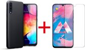 Samsung Galaxy A70 - Siliconen Backcover Hoesje & Tempered Glass Combi - Zwart