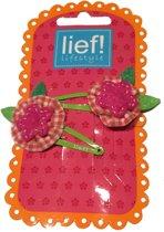Bloemetjes haarspeldjes met sterretje Oranje/Roze - Lief Lifestyle