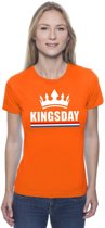 Oranje Kingsday met een kroon shirt dames S