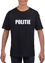 Politie tekst t-shirt zwart kinderen M (134-140)