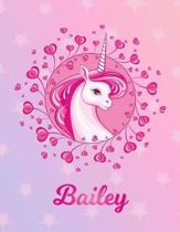 Bailey: Unicorn Large Blank Primary Handwriting Learn to Write Practice Paper for Girls - Pink Purple Magical Horse Personaliz