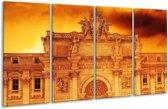Glasschilderij Gebouw | Oranje, Bruin | 160x80cm 4Luik | Foto print op Glas |  F002967