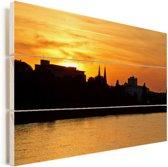 Oranje lucht boven Bonn door de zonsondergang Vurenhout met planken 120x80 cm - Foto print op Hout (Wanddecoratie)