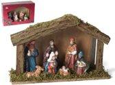 Kerststal hout groot met 7 figuren (6308) 30cm