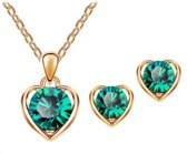 Fashionidea - Prachtige goudkleurige ketting met hanger en oorbellen de Heart Of Gold Set Green