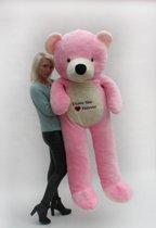 "Grote roze teddybeer met ""I love you"" tekst"