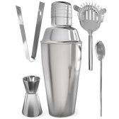 KitchenBrothers Professionele Cocktail Shaker Set - 5 Delig - Met Shaker - Zeef - Lepel - Jigger/Maatbeker - IJstang - 700 ml - RVS
