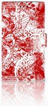 Sony Xperia XZ2 Bookcase Design Angel Skull Red