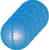 5x Luxe bol lampionnen blauw 25 cm - Feestversiering/decoratie