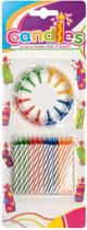 Verjaardagskaarsjes met 12 kaarshouders - SET 24 stuks multicolour kaarsjes