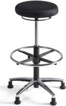 24Designs Tabouret Hoge Werkkruk STOF ALU - Verstelbare Zithoogte 57 - 83 Cm - Zwart
