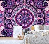Fotobehang Purple Ethnic Pattern   V4 - 254cm x 184cm   130gr/m2 Vlies