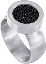 Quiges RVS Schroefsysteem Ring Zilverkleurig Mat 16mm met Verwisselbare Zirkonia Zwart 12mm Mini Munt