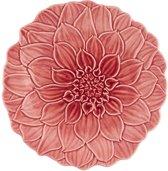 Bordallo Pinheiro Maria Flor Dália Ontbijtbord - Roze - Set van 2 - Aardewerk - Ø 22 cm