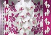 Fotobehang Flowers Floral Orchids Pattern | DEUR - 211cm x 90cm | 130g/m2 Vlies