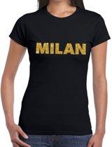 Milan gouden glitter tekst t-shirt zwart dames M