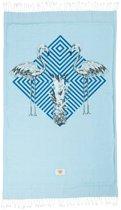 Mycha Ibiza – strandlaken – strandhanddoek – kikoy – flamingo – blauw – 100% katoen