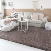Hoogpolig vloerkleed shaggy Trend effen - taupe 100x200 cm