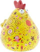 Kip Matilda spaarpot | Kip - Geel met vogels | Pomme pidou