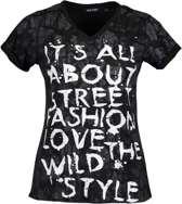 Blue Seven dames shirt zwart+print KM - maat L