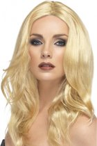 Lange blonde damespruik Superstar