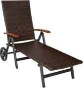 TecTake - Aluminium / Wicker ligstoel op wielen met armleuning 402219