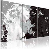 Schilderij - Vrouw abstract , zwart wit , 3 luik