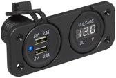 Inbouw kit: Voltmeter 6-30V + dubbele USB poort -l 2x2100mA