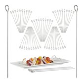 relaxdays 50x satéprikker rvs- vleesspiesen - vleespen - voor barbecue - 30 cm lang