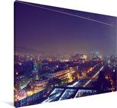 Blauwe lucht boven Bombay Canvas 180x120 cm - Foto print op Canvas schilderij (Wanddecoratie woonkamer / slaapkamer) XXL / Groot formaat!
