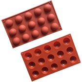 ProductGoods - Siliconen Bakvorm Halve Bollen - Halfrond Rond - 15 Stuks