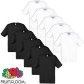 Fruit of the Loom T-shirt maat XL 100% katoen 10 stuks (5 wit/5 zwart)