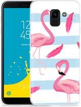 Galaxy J6 Hoesje Flamingo Feathers