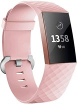 123Watches.nl Fitbit charge 3 sport wafel band - roze - ML