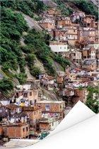 Mooi beeld van een Favela tegen een heuvel in Rio de Janeiro Poster 60x90 cm - Foto print op Poster (wanddecoratie woonkamer / slaapkamer)
