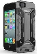 Hybride Apple iPhone 5/5S/SE Hoesje met Kaarthouder Grijs