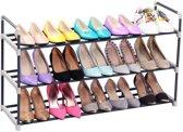 Schoenenrek 15 Paar schoenen - 3 Etages - Metaal/kunstof - Zwart