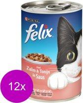 FELIX Blik Brok In Saus - Zalm en Tonijn - Kattenvoer - 12 x 400 gr