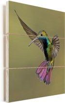 Afbeelding van een kleurrijke kolibrie met een bruine achtergrond Vurenhout met planken 60x80 cm - Foto print op Hout (Wanddecoratie)