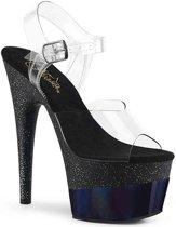 Pleaser Sandaal met enkelband -38 Shoes- ADORE-708-2HGM Wit/Zwart