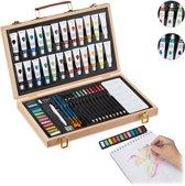 relaxdays houten schilderskist - verfset - schilderskoffer - tekenset - 56-delig Acryl